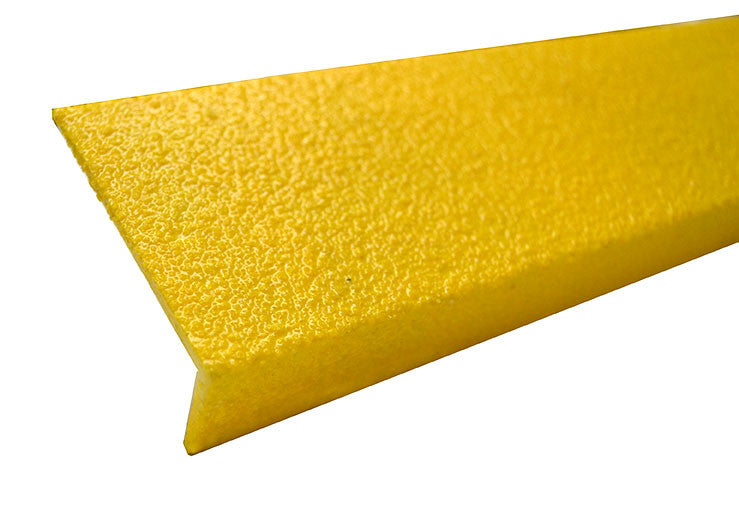 "3"" x 60"" Safety Yellow Fiberglass Non Skid Stair Nosing Medium Grit"