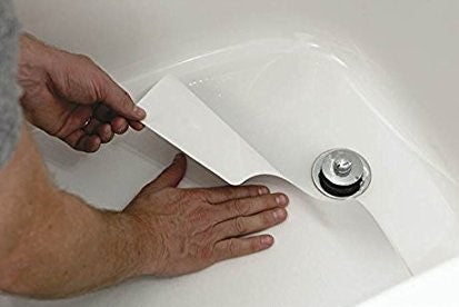 "16"" X 40"" WHTE Vinyl Adhesive Bath Mat - Case of 6"