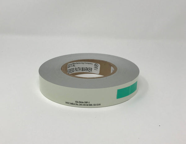 "Jessup 50F-1 Photoluminescent Glo Brite Film Roll 1"" x 100 ft. Glow in the Dark Emergency Egress Safety Tape Case of 12 Rolls"