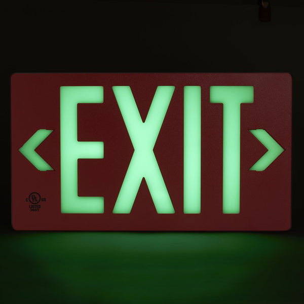 Jessup Glo Brite 7052-100-B Photoluminescent Double Sided Egress Directional Safety Exit Sign PF100 Red