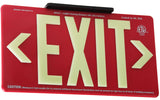 Jessup Glo Brite 7072-B Photoluminescent Double Sided Indoor Outdoor Wet Area Egress Directional Safety Exit Sign PM100 Red
