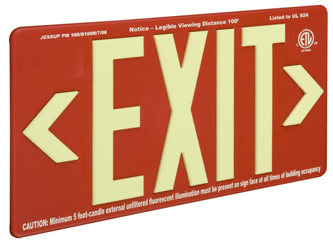 Jessup Glo Brite 7070-B Photoluminescent Single Sided Indoor Outdoor Wet Area Egress Directional Safety Exit Sign PM100 Red