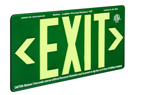Jessup Glo Brite 7082-B Photoluminescent Double Sided Indoor Outdoor Wet Area Egress Directional Safety Exit Sign PM100 Green