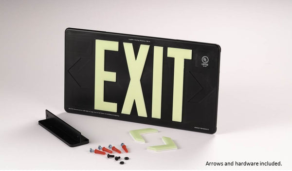Jessup Glo Brite 7090-B Photoluminescent Single Sided Indoor Outdoor Wet Area Egress Directional Safety Exit Sign PM100 Black