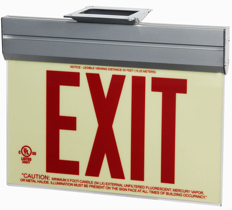 Jessup Glo Brite 7210-ACR-B Front Office Photoluminescent Single Sided Egress Directional Safety Exit Sign P50 Red