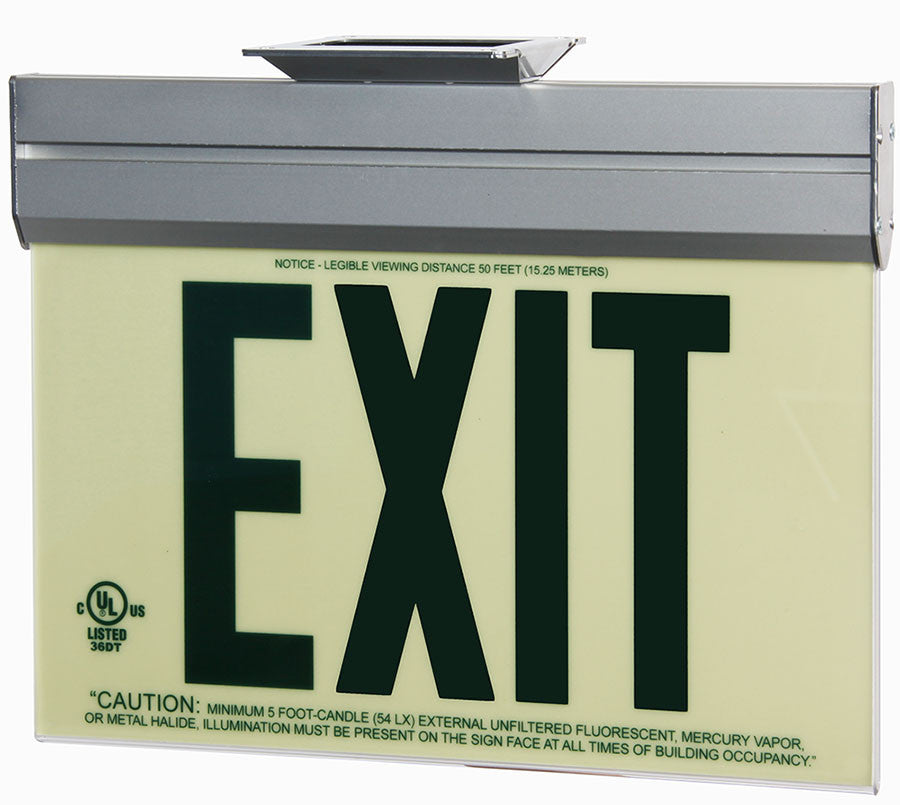 Jessup Glo Brite 7220-ACR-B Front Office Photoluminescent Single Sided Egress Directional Safety Exit Sign P50 Green