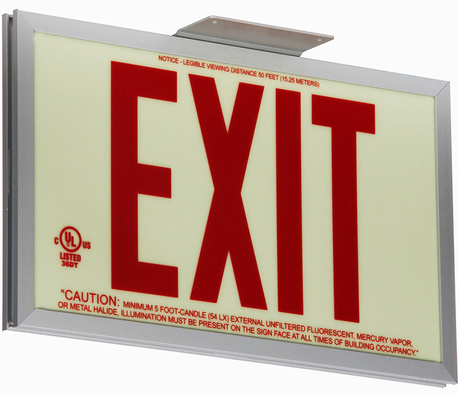 Glo Brite Photoluminescent Single Sided Exit Sign - P50 Red - Minimum Order is any 2 Exit Signs