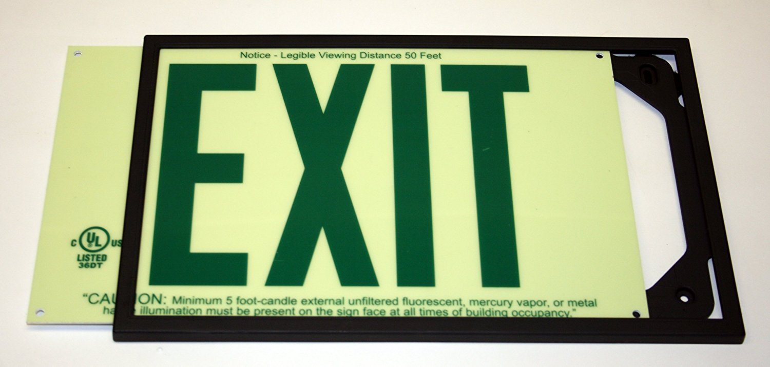 Jessup Glo Brite 7220 Photoluminescent Egress Exit Sign
