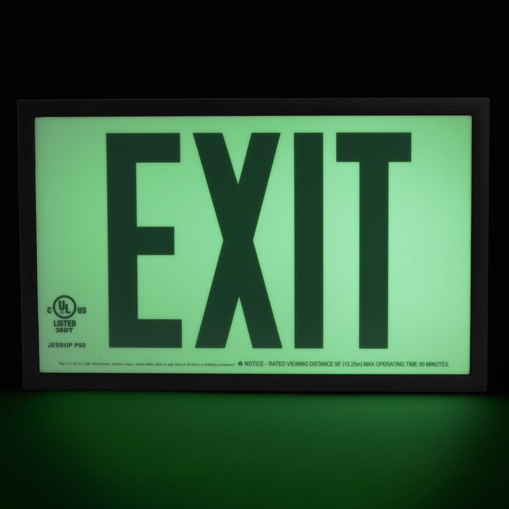Jessup Glo Brite 7220 Photoluminescent Single Sided Indoor Egress  Directional Safety Exit Sign P50 Green