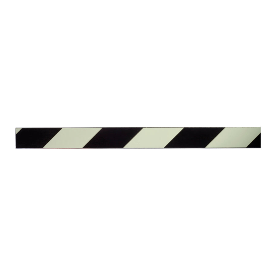 "Photoluminescent Black Stripe Aluminum Strip - 1"" x 60"" with Glo Brite Tape"