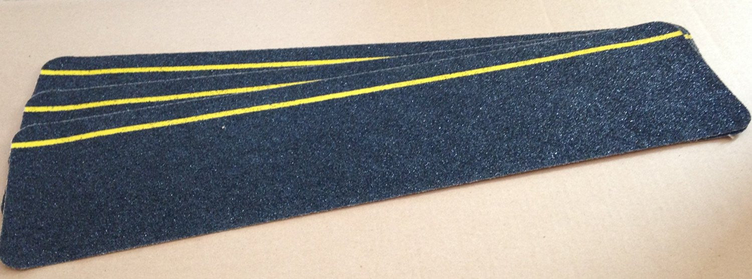 "6"" X 24"" BLACK w Yellow REFLECTIVE Stripe Abrasive Tread - Pkg of 3"