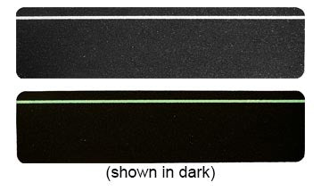"6"" X 24"" BLACK with GLOW in the Dark Stripe Abrasive Tread - Package of 3"