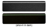 "6"" X 24"" Package of 10 Abrasive Non-Skid Stair Treads Black with Glow in the Dark Stripe"