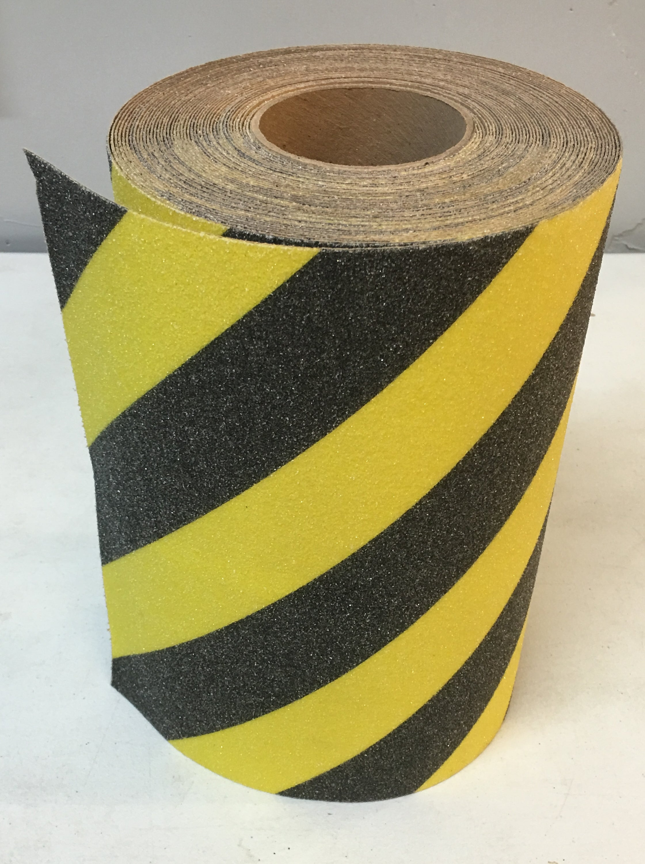 "12"" X 30' Foot Roll BLACK and YELLOW Stripe Abrasive Tape"