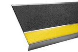 "11"" x 36"" Aluminum Stair Tread - Black with Yellow Nosing"