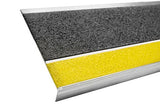 "9"" x 36"" Aluminum Stair Tread - Black with Yellow Nosing"