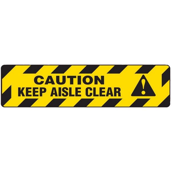 "Incom Anti-Slip 6"" x 24"" Keep Aisle Clear Floor Sign"