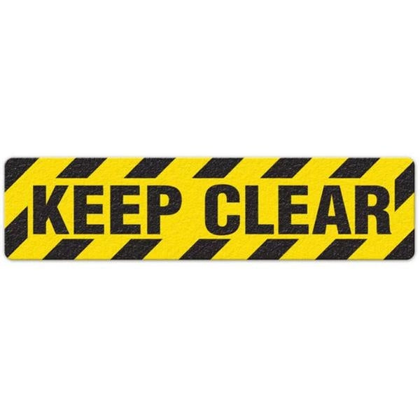 "Incom Anti-Slip 6"" x 24"" Keep Clear Black / Yellow  Floor Sign"