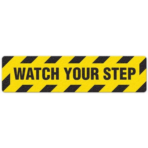 "Incom Anti-Slip 6"" x 24"" Watch Your Step Floor Sign"