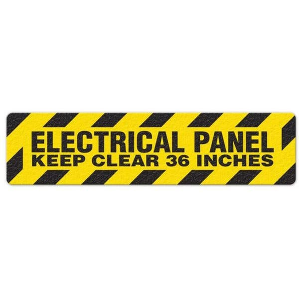 "Incom Anti-Slip 6"" x 24"" Electrical Panel - Keep Clear 36 Inches Floor Sign"