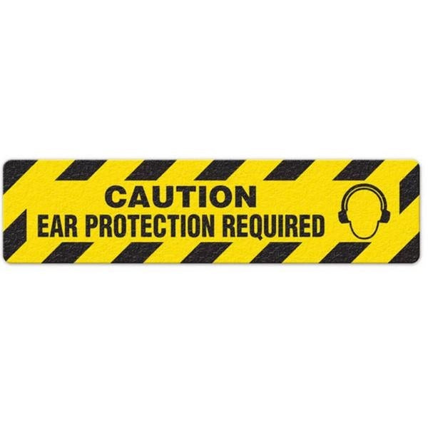 "Incom Anti-Slip 6"" x 24"" Caution - Ear Protection Required Floor Sign"