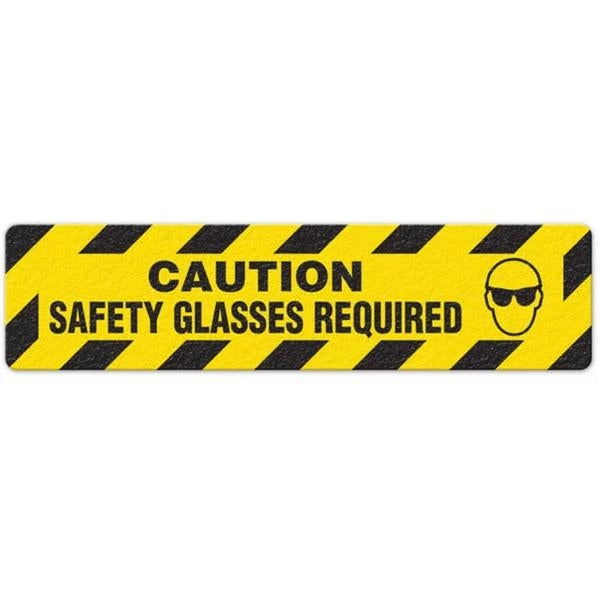 "Incom Anti-Slip 6"" x 24"" Caution - Safety Glasses Required Floor Sign"