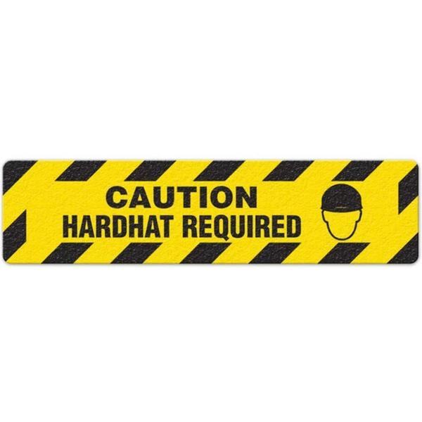 "Incom Anti-Slip 6"" x 24"" Caution - Hard Hat Required Floor Sign"