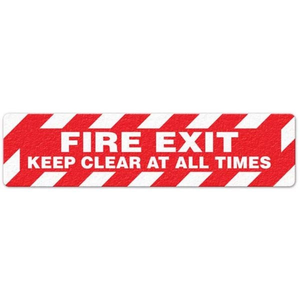 "Incom 6"" x 24"" Anti-Slip Non Skid - Fire Exit / Keep Clear Floor Sign FS3026V"