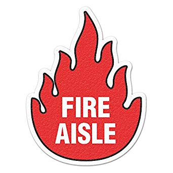 Incom Anti-Slip Fire Aisle Floor Sign FS1008V