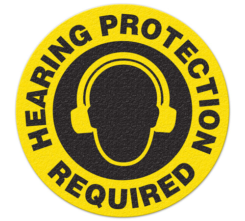 Copy of Incom Anti-Slip Safety Hearing Protection Required Floor Sign FS1015V