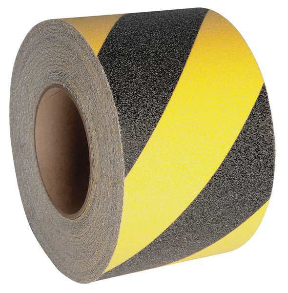 "4"" X 60' Case of 3 Rolls Abrasive Anti Slip Tape Black & Yellow Hazard"