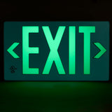 Jessup Glo Brite 7042-100-B Photoluminescent Double Sided Egress Directional Safety Exit Sign PF100 Green