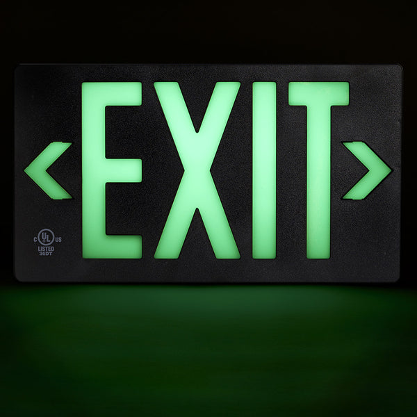 Jessup Glo Brite 7060-100-B Photoluminescent Single Sided Egress Directional Safety Exit Sign PF100 Black