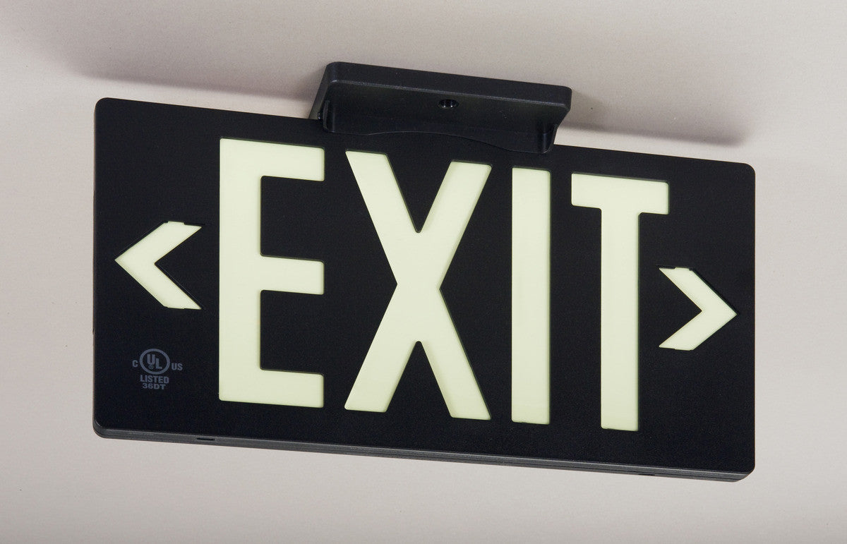 Glo Brite 7062-100-B Photoluminescent Double Sided Directional Exit Sign - PF100 Black