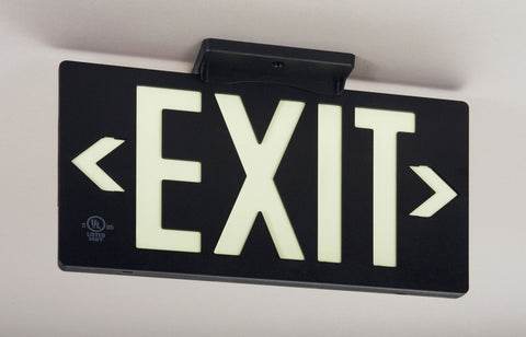 Jessup Glo Brite 7062-100-B Photoluminescent Double Sided Egress Directional Safety Exit Sign PF100 Black
