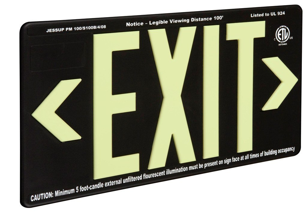 OLD STOCK - SPECIAL PRICING - 60% Savings - Glo Brite 7092-B Photoluminescent Double Sided Directional Exit Sign - PM100 Black - Enter Code 60OFFOLDSTOCK at Checkout - One Available