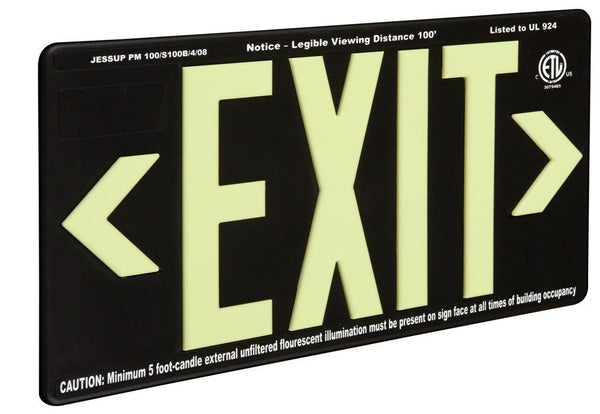 Jessup Glo Brite 7092-B Photoluminescent Double Sided Indoor Outdoor Wet Area Egress Directional Safety Exit Sign PM100 Black