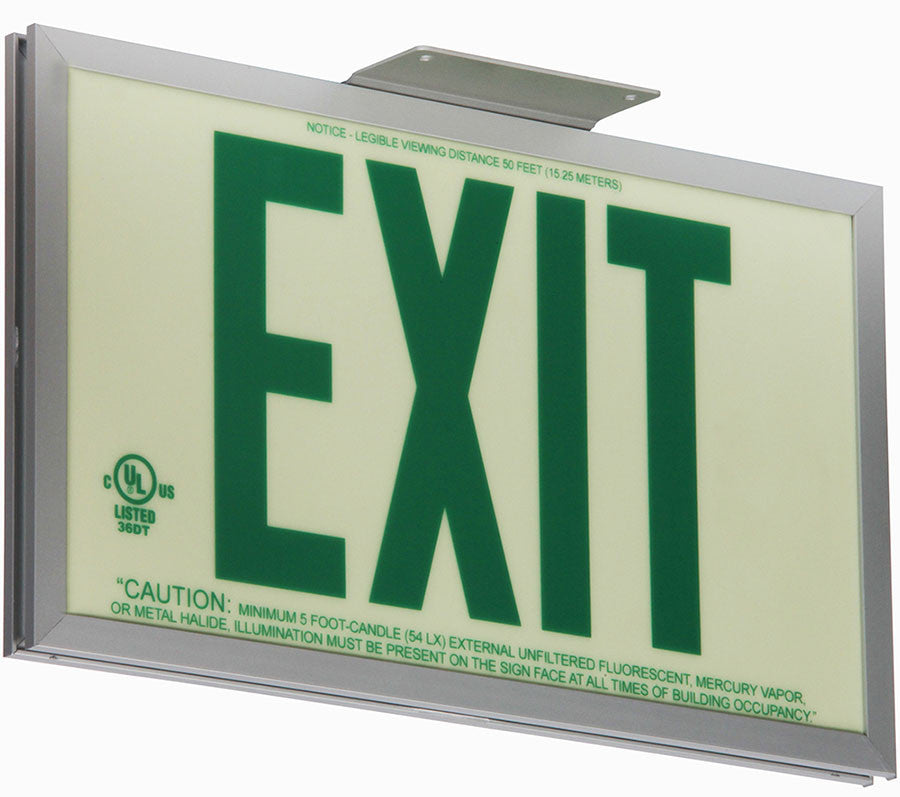 Jessup Glo Brite 7220-SAF-B Front Office Photoluminescent Single Sided Egress Directional Safety Exit Sign P50 Green