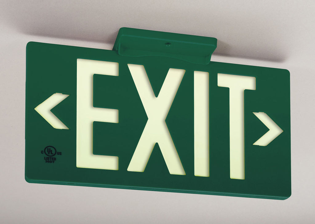 Jessup Glo Brite 7040-100-B Photoluminescent Single Sided Egress Directional Safety Exit Sign PF100 Green