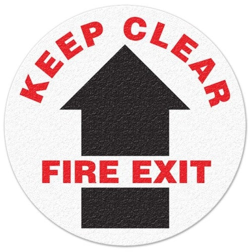 Keep Clear, Fire Exit Floor Sign - FS1018V
