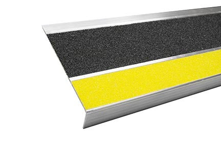 "7.5"" x 42"" Non-Slip Aluminum Step Cover Tape Tread Black with Yellow Nose - Minimum Order is 4 Treads"