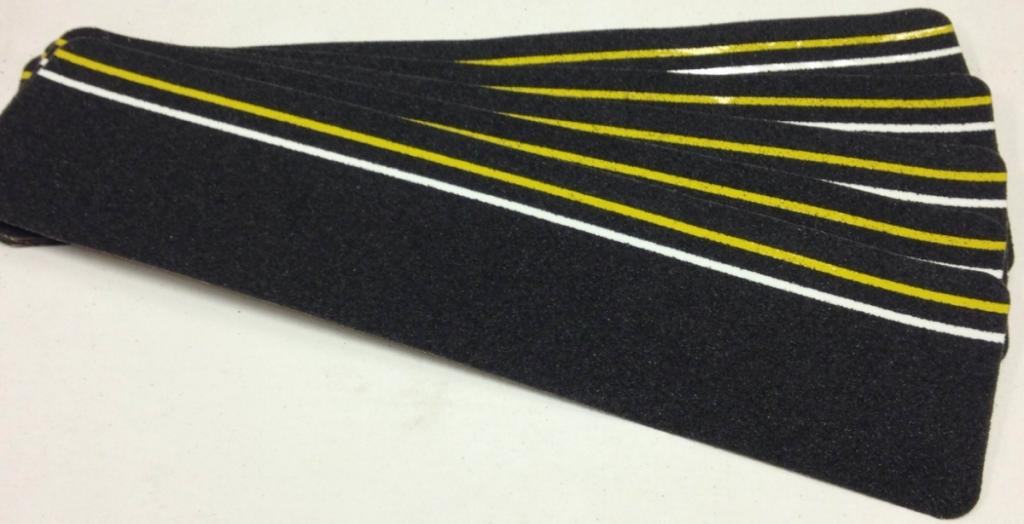 "BLACK with GLOW in the Dark & Reflective Stripe Abrasive Tread 6"" x 24"""