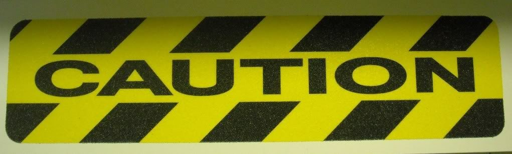 "6"" X 24"" Abrasive Black Yellow Hazard Warning CAUTION Anti Slip Treads Safety Tape 84622 Package of 3"