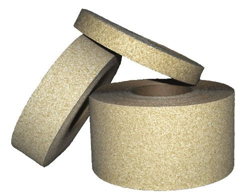 "4"" X 60' Foot Roll Master Stop Abrasive Grit Anti Slip Non Skid Safety Tape Beige 88407 Case of 3 Rolls"