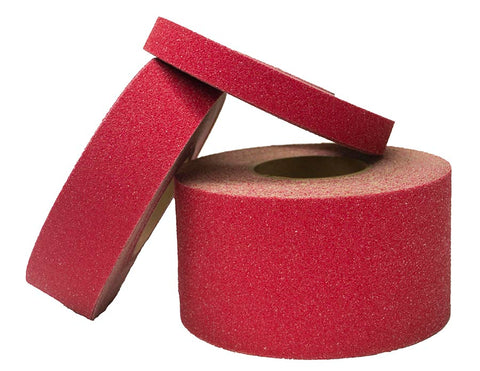 "4"" X 60' Foot Roll Master Stop Abrasive Grit Anti Slip Non Skid Safety Tape Red 88415 Case of 3 Rolls"