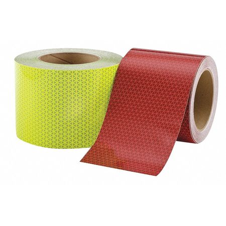 "4"" x 150' Oralite V98 Conformable Reflective Safety Tape - Package of 2 Rolls - One Fluorescent Lime & One Solid Red -  2 Week Processing"