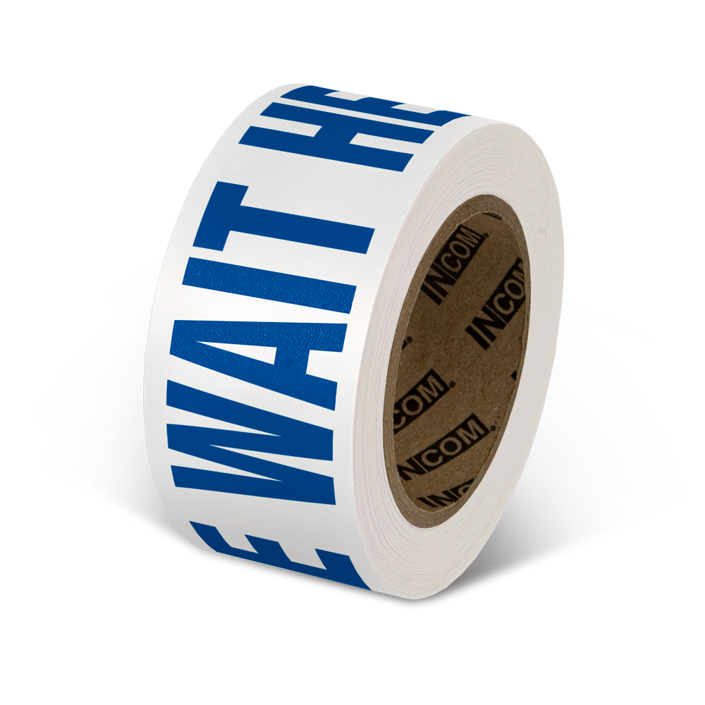 "2.25"" x 54 Foot Roll Worded Floor Safety Tape Please Wait Here - Use Code 50OFFTODAY for 50% Savings - Limited Stock"