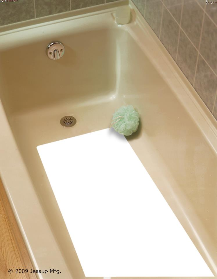 Safe Way Traction 16 X 34 CLEAR//FROSTED Adhesive Vinyl Anti Slip Non Skid Safety Bath Mat 4100-16X34-RC