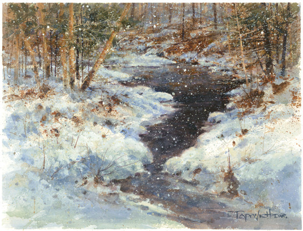 'Snowy Spring Runoff' Original Watercolor - Studios of Dale L Popovich