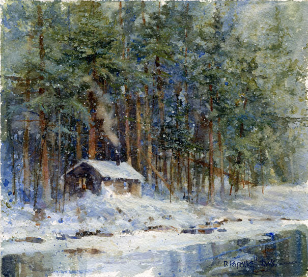 'Cabin on the Pond' Watercolor Fine Art Giclée Print - Studios of Dale L Popovich